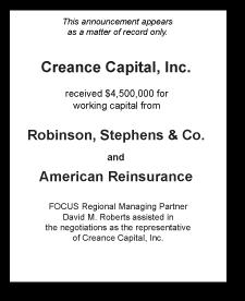 Tombstone: Creance Capital, Inc. Corporate Finance Deal