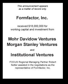Tombstone: Formfactor, Inc. Corporate Finance Deal