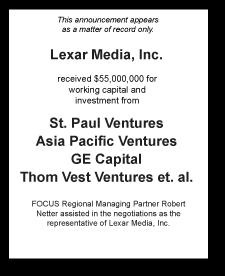 Tombstone: Lexar Media, Inc. Corporate Finance Deal