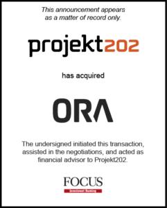 Projekt202 has acquired ORA
