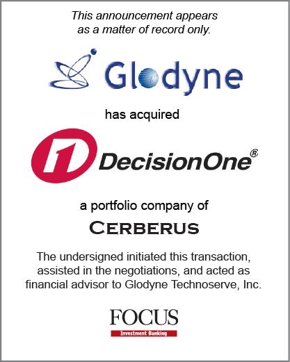 Glodyne Technoserve Limited has acquired U.S based DecisionOne Corporation
