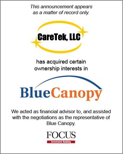 Caretek, LLC has acquired certain ownership interests in Blue Canopy