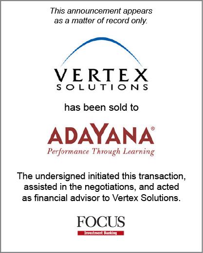 Vertex Solutions has been sold to Adayana.